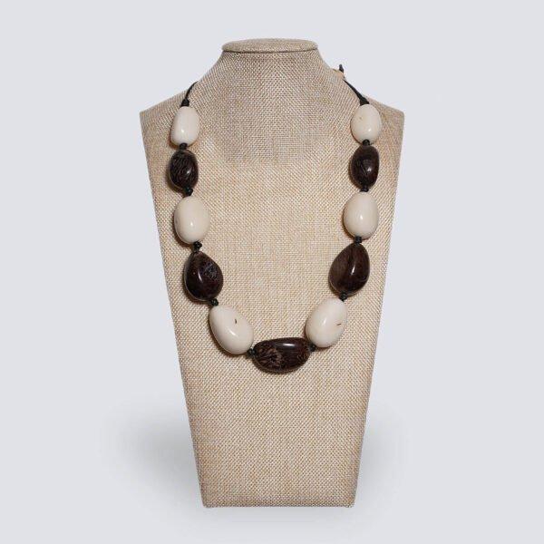 Collana semi di Tagua naturale - Fuoco