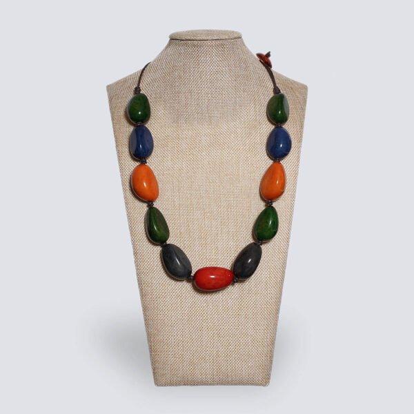 Collana semi di Tagua colorata AUTUNNO